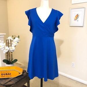 HALSTON royal blue knit fit and flare dress